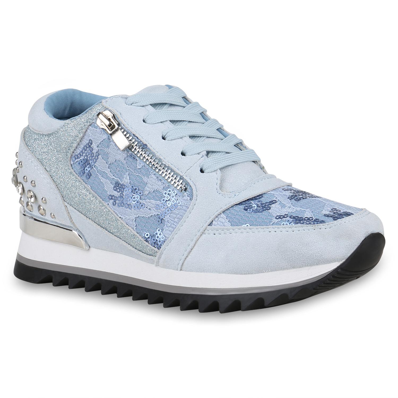 Damen Sneaker Wedges - Hellblau