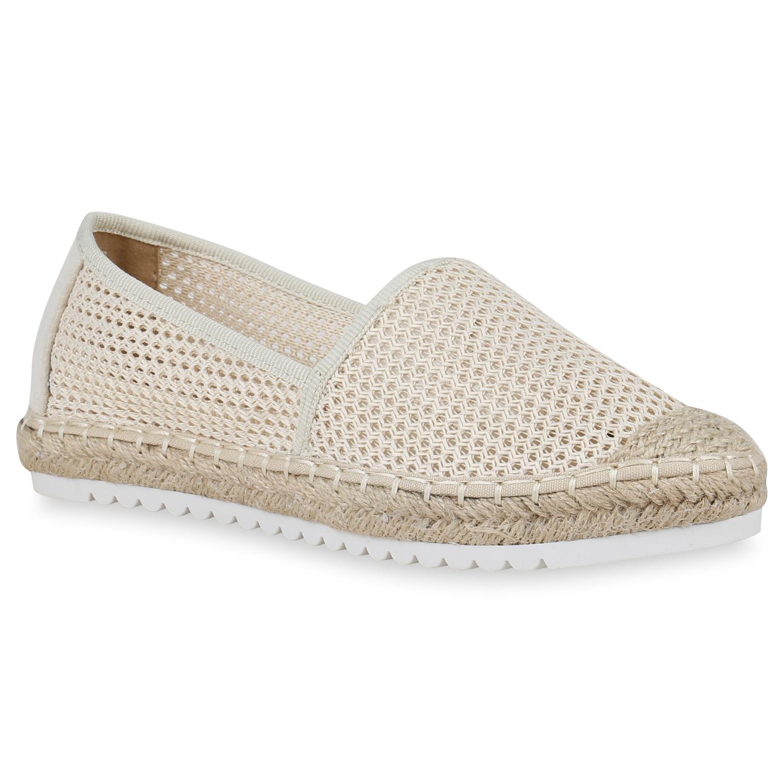 Slipper - Damen Slippers Espadrilles Creme › stiefelparadies.de  - Onlineshop Stiefelparadies