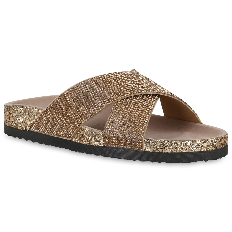 Damen Sandalen Pantoletten - Gold