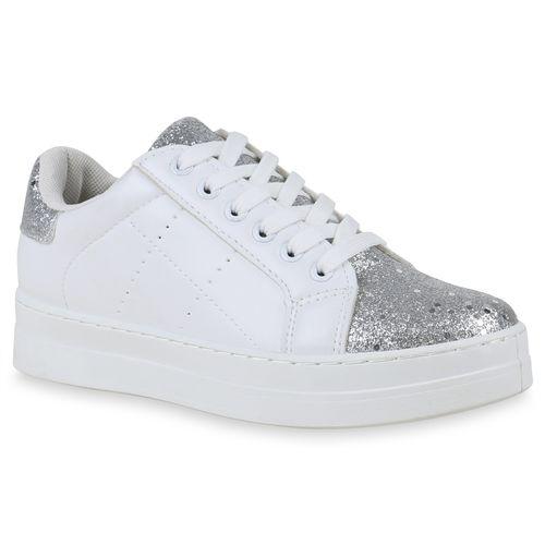 7862f725865cf6 Damen Sneaker in Weiß Silber (822905-2292) - stiefelparadies.de