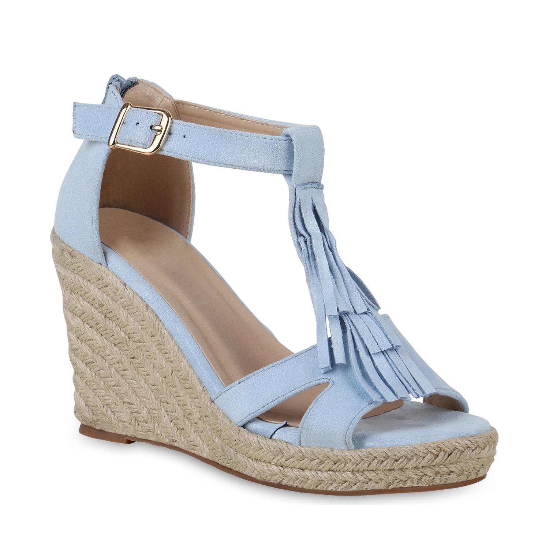 Damen Sandaletten Keilsandaletten - Hellblau