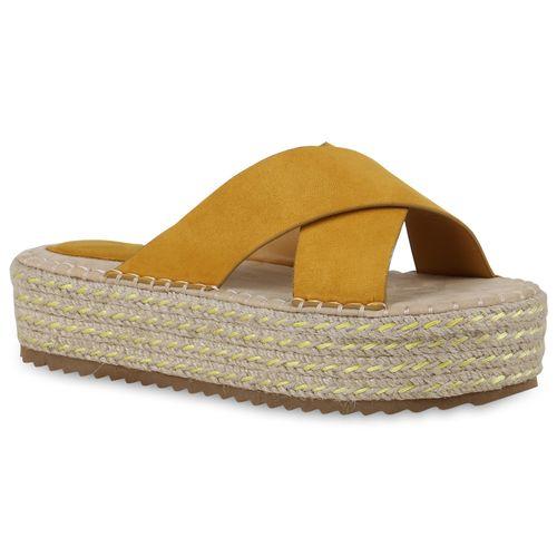 Damen Sandaletten Pantoletten - Gelb