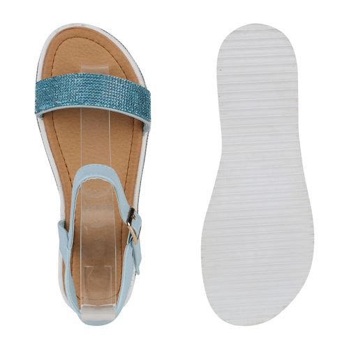 Billig Damen Schuhe Damen Sandaletten in Blau 822916153