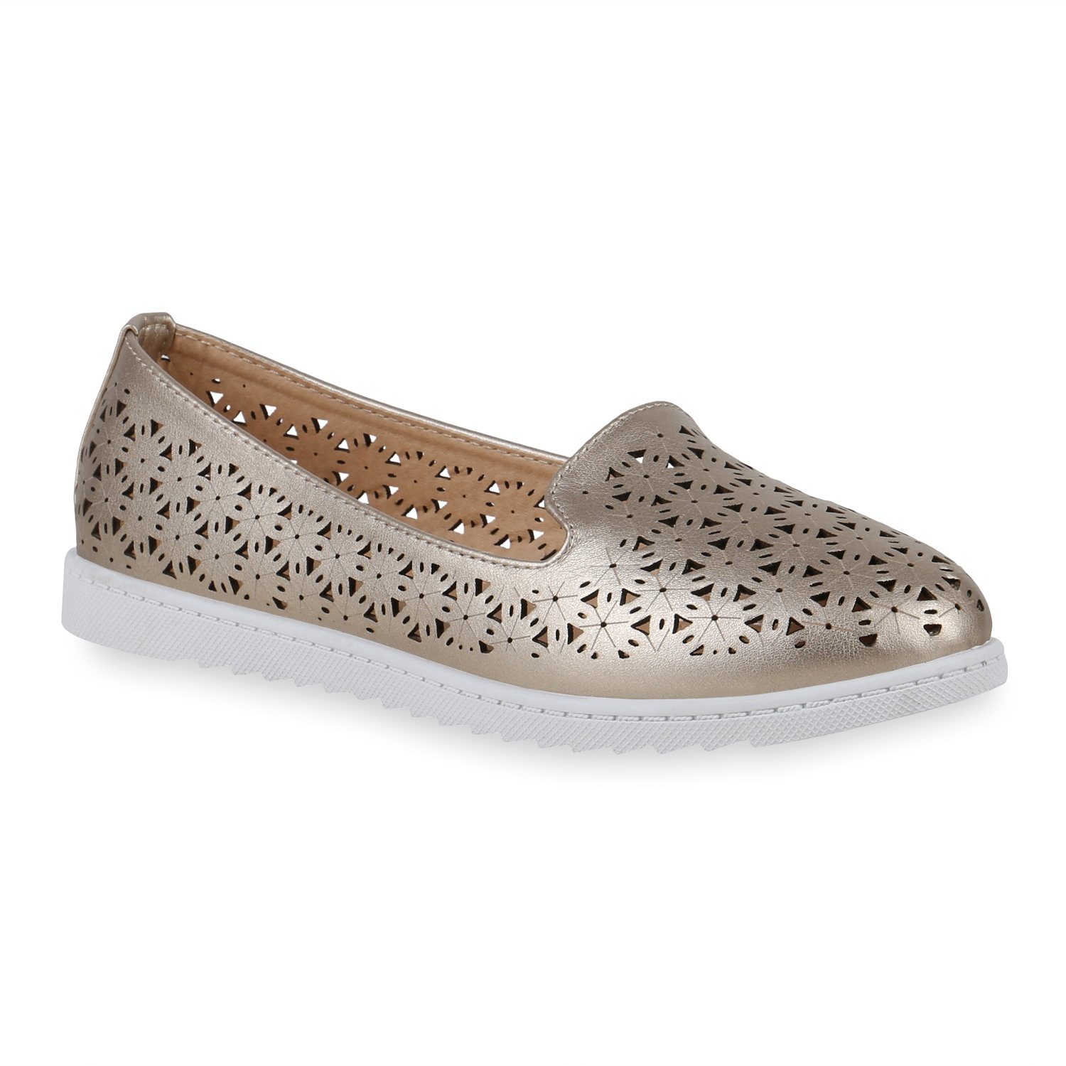 Damen Slippers Loafers - Gold