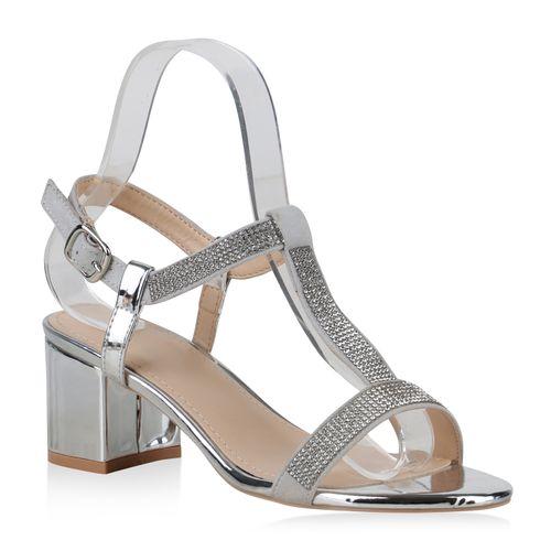Damen Silber Damen Sandaletten Sandaletten Riemchensandaletten 57qXa5w