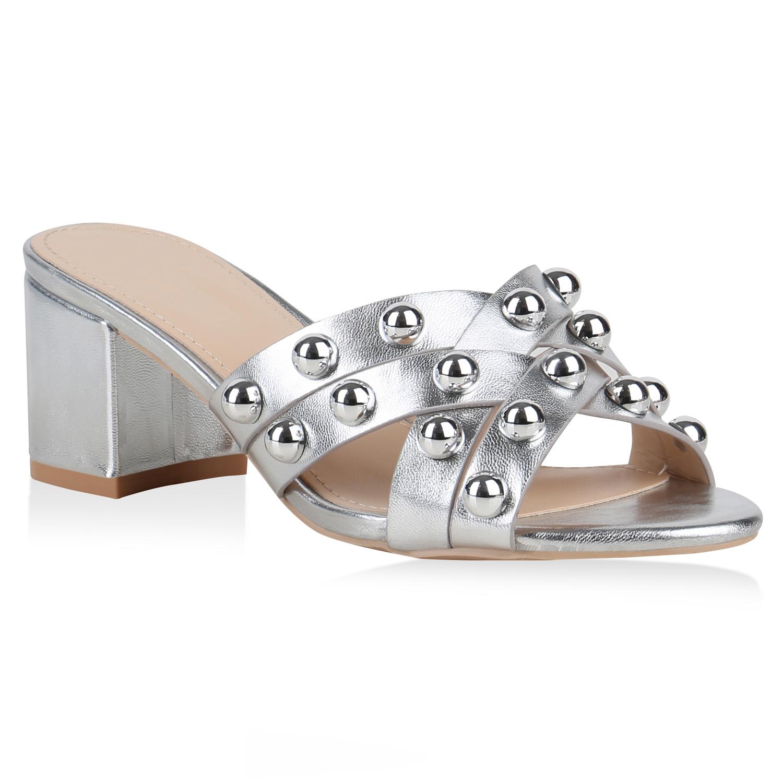 Sandalen - Damen Sandaletten Pantoletten Silber › stiefelparadies.de  - Onlineshop Stiefelparadies