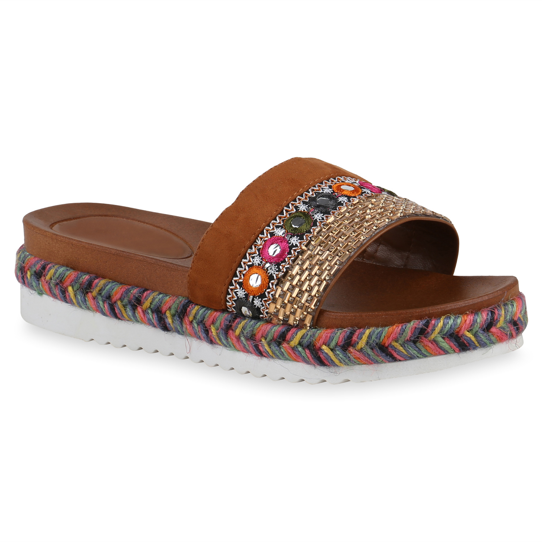 Damen Sandaletten Pantoletten - Braun