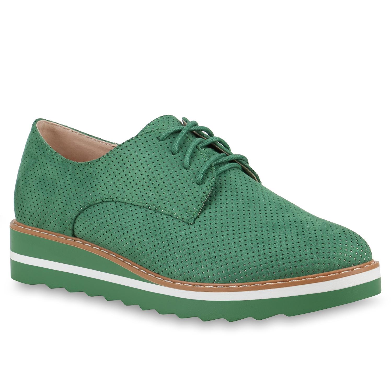 Halbschuhe für Frauen - Damen Halbschuhe Plateauschuhe Grün  - Onlineshop Stiefelparadies
