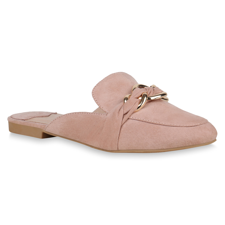 Damen Slippers Pantoletten - Rosa