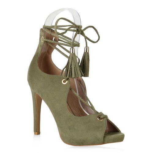 Damen Sandaletten High Heels - Dunkelgrün