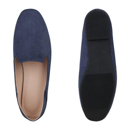 Damen Slippers Loafers - Blau