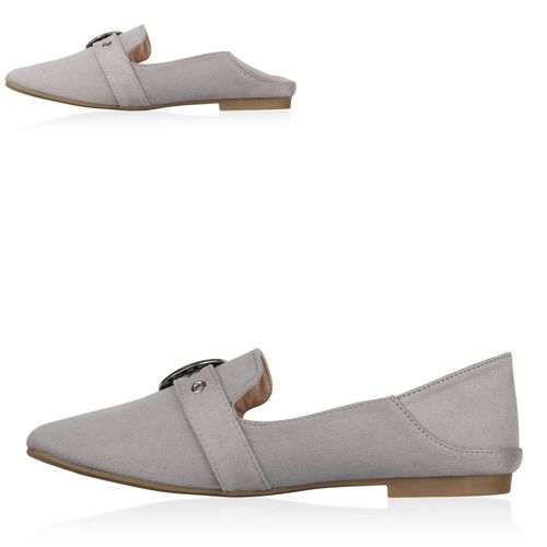 Damen Slippers Loafers - Grau