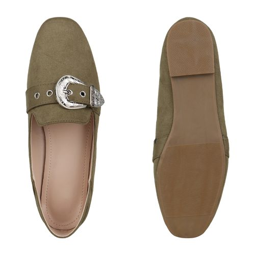 Damen Slippers Loafers - Dunkelgrün