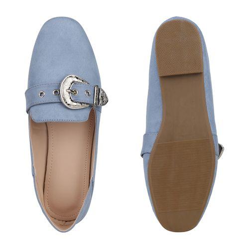 Damen Slippers Loafers - Hellblau