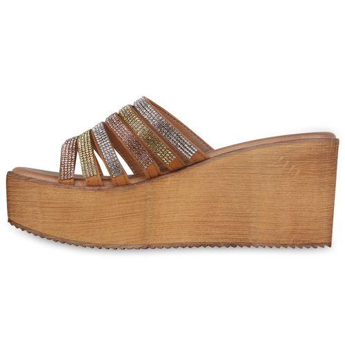 Damen Sandaletten Pantoletten - Hellbraun