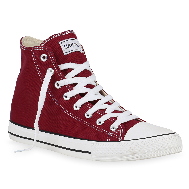 Sneakers für Frauen - Herren Sneaker high Dunkelrot › stiefelpardies.de  - Onlineshop Stiefelparadies