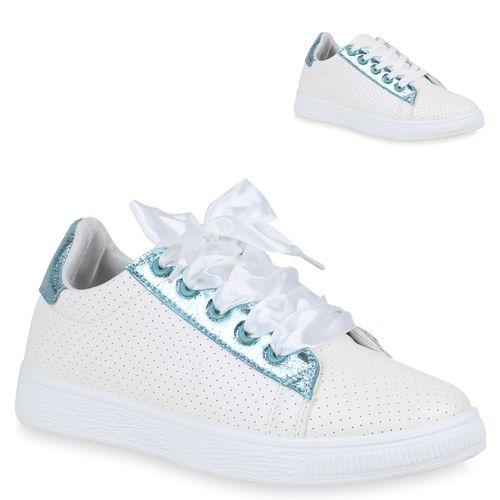 61a4f25a9bea73 Damen Sneaker in Weiß Blau (823186-1184) - stiefelparadies.de