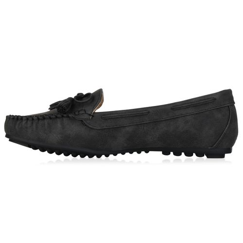 Damen Slippers Mokassins - Schwarz