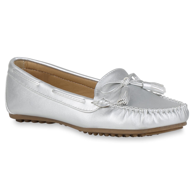 Damen Slippers Mokassins - Silber