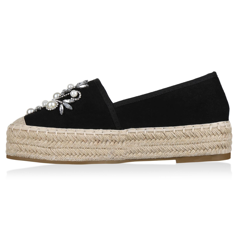 Damen Slippers Espadrilles Plateau Sommer Schuhe Bast Zierperlen 823213 Trendy