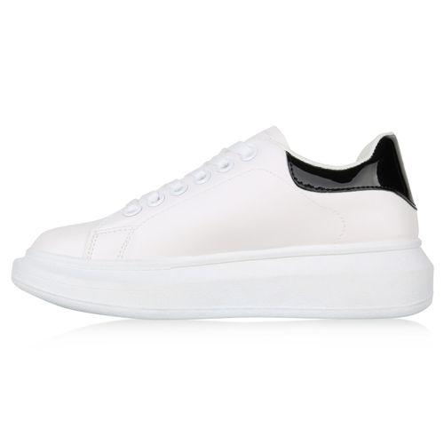 Damen Plateau Sneaker - Weiß Schwarz