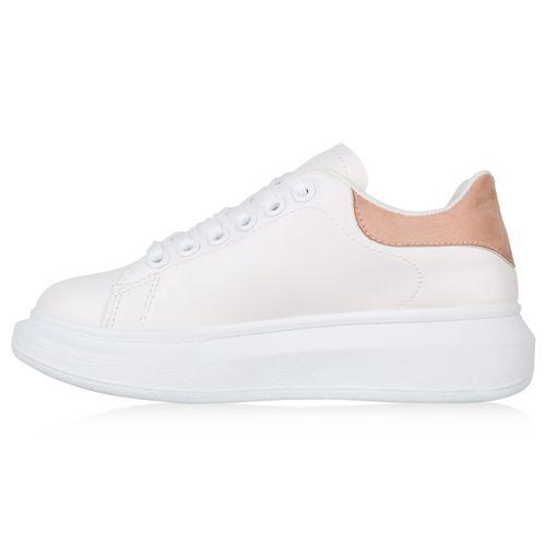 Sneaker Rosa Plateau Sneaker Plateau Sneaker Damen Plateau Rosa Weiß Damen Weiß Damen wfqgqA