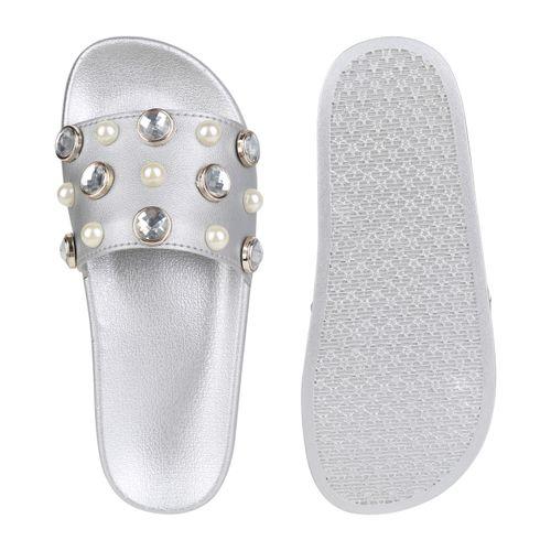 Damen Sandalen Pantoletten - Silber