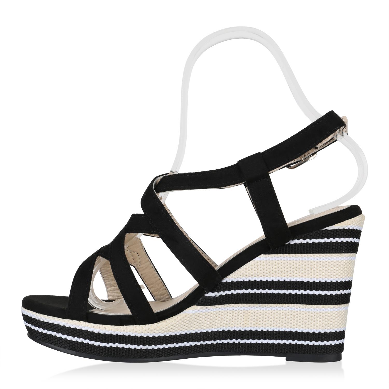 Damen Plateau Sandaletten Sommer High Heels Keilabsatz Schuhe 823383 Trendy Neu