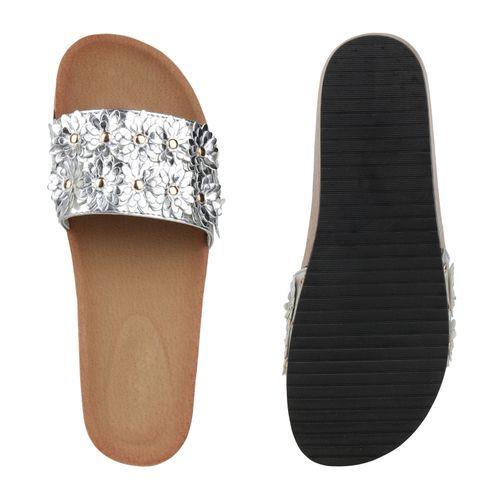Pantoletten Silber Damen Sandaletten Damen Sandaletten TgPxZZ