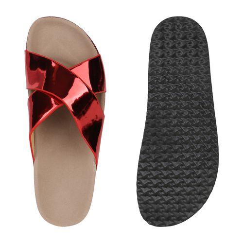 Damen Pantoletten Sandalen Rot Sandalen Rot Damen Pantoletten twUqqza