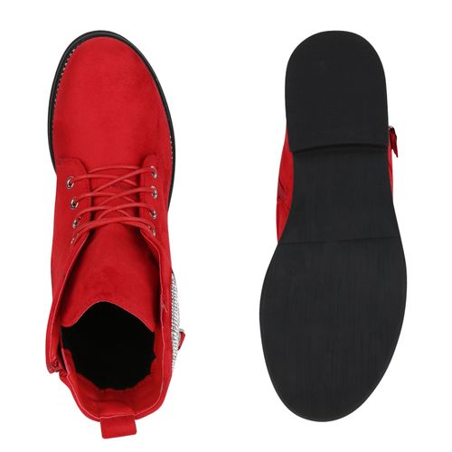 Damen Stiefeletten Schnürstiefeletten - Rot