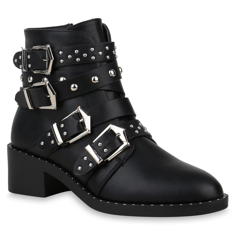 Stiefel für Frauen - Damen Stiefeletten Biker Boots Schwarz  - Onlineshop Stiefelparadies