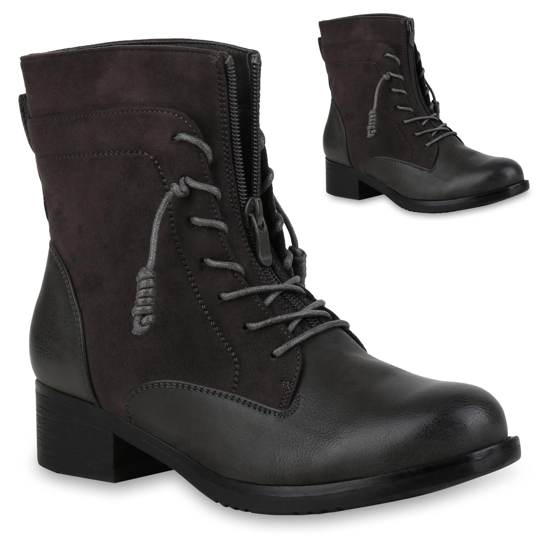 Stiefel für Frauen - Damen Stiefeletten Schnürstiefeletten Grau  - Onlineshop Stiefelparadies