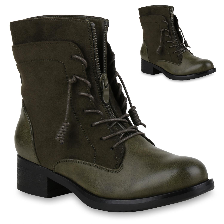 Stiefel für Frauen - Damen Stiefeletten Schnürstiefeletten Dunkelgrün  - Onlineshop Stiefelparadies