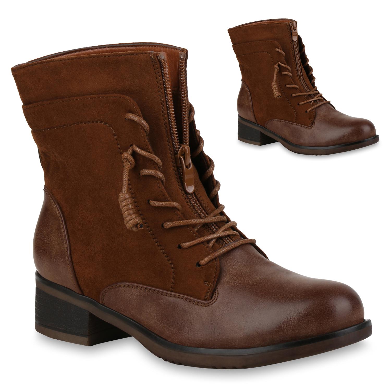 Stiefel für Frauen - Damen Stiefeletten Schnürstiefeletten Hellbraun  - Onlineshop Stiefelparadies