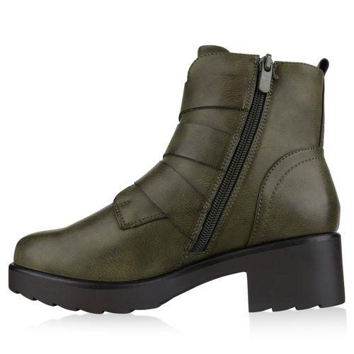 Damen Stiefeletten Biker Boots - Dunkelgrün
