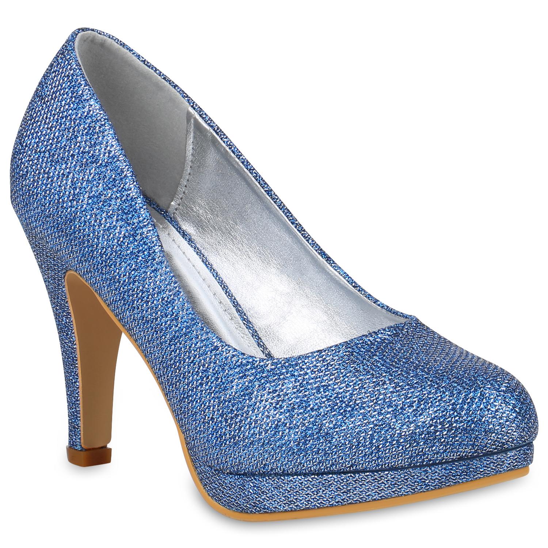 Damen Pumps High Heels Blau