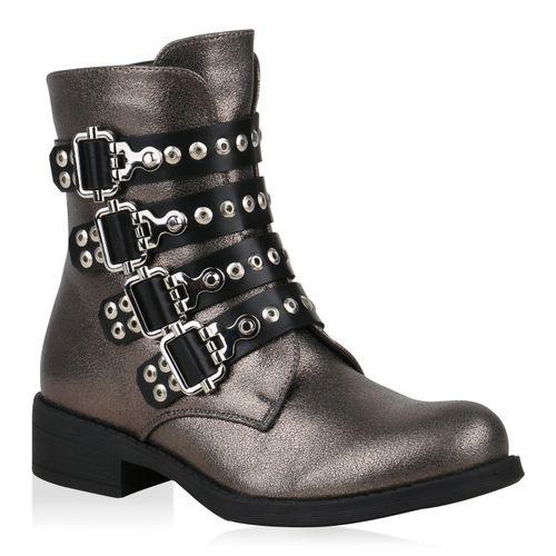 Damen Metallic Biker Stiefeletten Grau Boots rOUrZ0