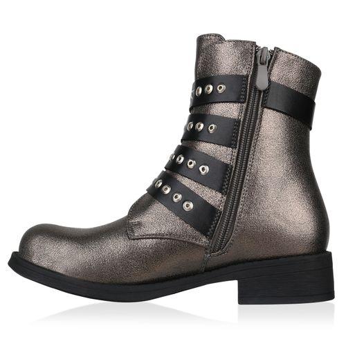 Stiefeletten Damen Biker Grau Metallic Boots zBqABHw