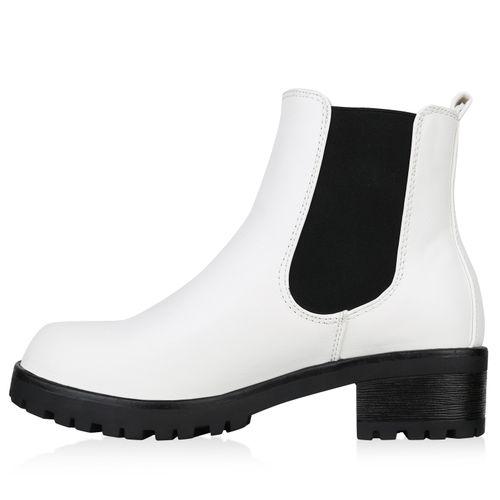Damen Stiefeletten Chelsea Boots - Weiß