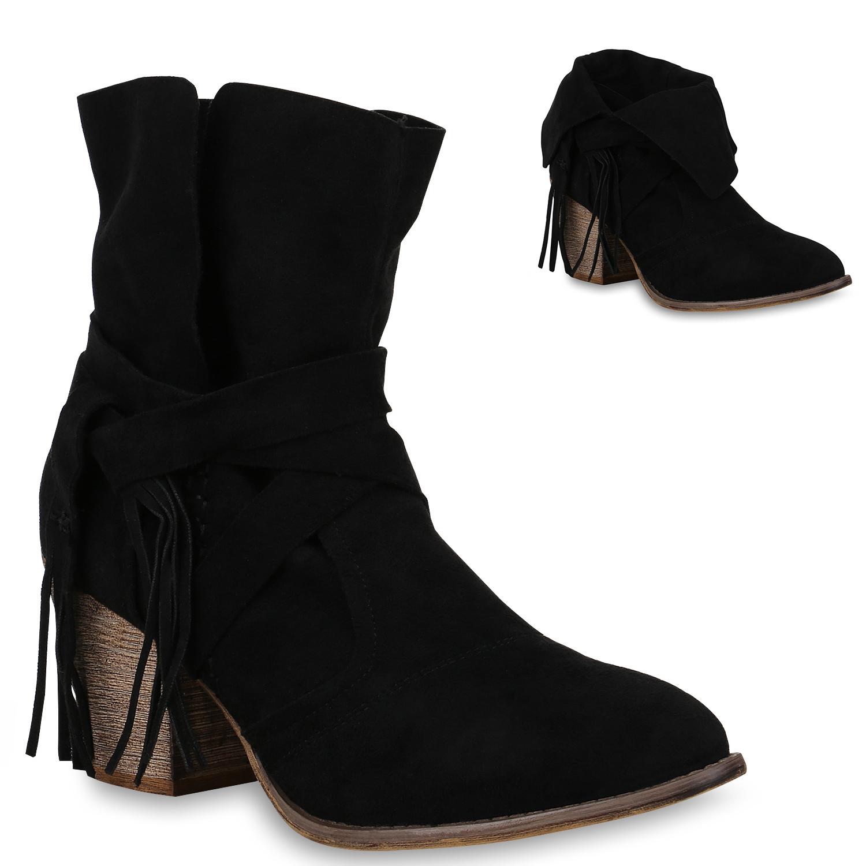 Damen Stiefeletten Cowboy Boots - Schwarz