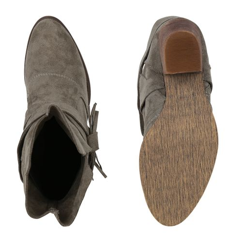 Damen Stiefeletten Cowboy Boots - Grün