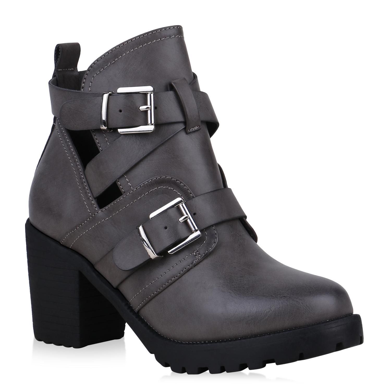 Stiefel - Damen Stiefeletten Ankle Boots Grau › stiefelparadies.de  - Onlineshop Stiefelparadies