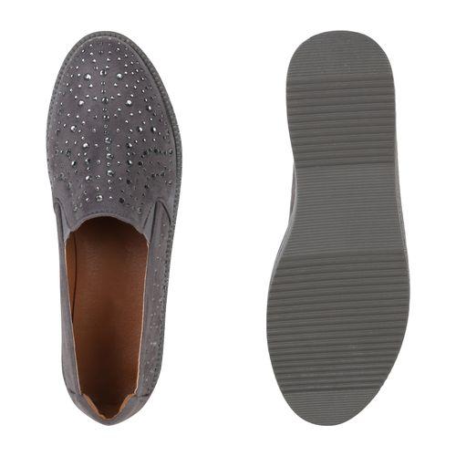 Damen Slippers Plateauschuhe - Grau