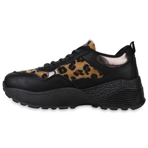 Damen Plateau Sneaker - Schwarz Leopard
