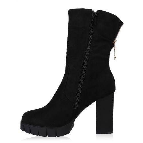Boots Damen Schwarz Stiefeletten Damen Plateau Stiefeletten 6fw5IqvXxw