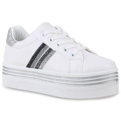 5ae32a1bc9f0af Damen Sneaker in Weiß Silber (823962-2292) - stiefelparadies.de