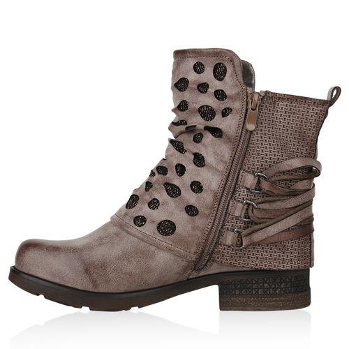 Boots Khaki Khaki Damen Boots Stiefeletten Biker Stiefeletten Biker Khaki Boots Damen Damen Biker Stiefeletten d00qwFC