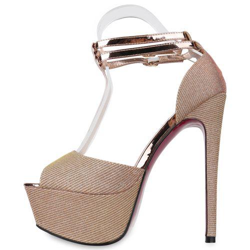 Sandaletten Damen Gold Damen Plateau Plateau Rose rx00qSBYHw