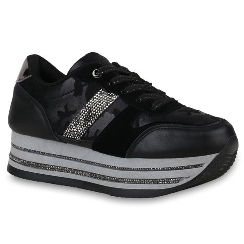 Schwarz Plateau Damen Plateau Schwarz Sneaker Sneaker Damen Damen Plateau P8nAZZ